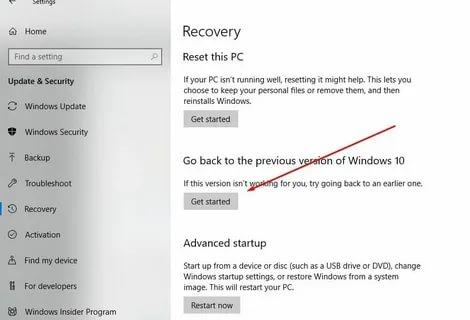 Windows 10 Güncelleme Geri Alma